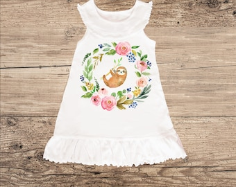 Sloth Dress for Baby, Toddler Dress with Ruffle Collar
