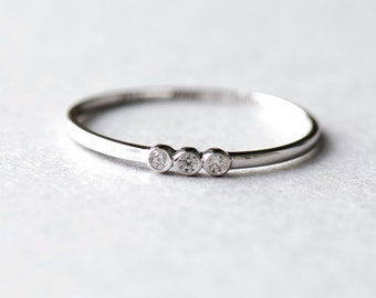 Trio Bezel Ring, Minimalist Ring, Dainty Ring, White Gold Plated, 925 Sterling Silver Ring, Minimalist Jewelry, Silver Ring, Gift For Her