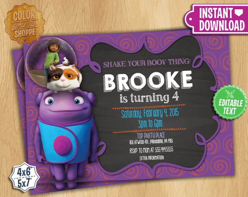 Dreamworks Home Free Printable Invitations - Worksheet & Coloring Pages
