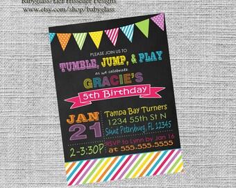 Tumble Birthday Party Invite | 5x7 | digital file | Gymnastics Birthday Party Invite |