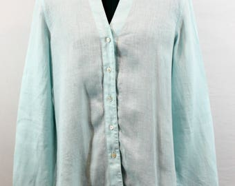 Light Turquoise 100% Linen Blouse by Talbots. Fall blouse, fall top, pastel top, turquoise top, turquoise blouse, linen top, pretty top.
