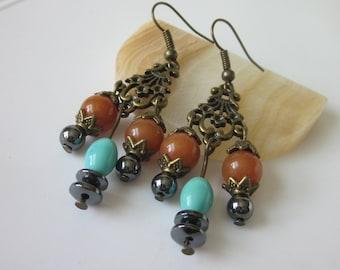Boho Chandelier Earrings, Bohemian Jewelry, Gemstone Earrings, Rust Orange Aventurine, Black Hematite, Bronze Earrings, Gemstone Jewelry