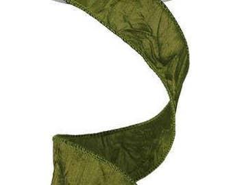 "1.5""x 25yd crushed dupioni moss green, wired ribbon, moss green ribbon, dupioni, ribbon, wired moss green ribbon, ribbon"
