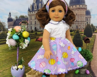 Easter Egg Hunt - circle skirt and blouse ensemble for American Girl doll with sandals