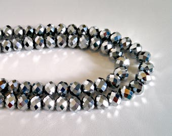 Vintage Necklace, Double Strand Silver Faceted Glass Beads, Adj Hook Clasp, Sparkle, Mid Century Style, Circa 1970s, Includes Gift Box