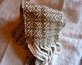 Handwoven German Patterned Cotton and Silk Scarf or Sash Green and White