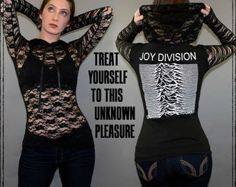 Joy Division Lace Hoodie Pullover t shirt Top Unknown Pleasures Ian Curtis Goth New Wave Post Punk Band Merch New Order