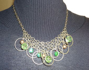 Vintage Necklace by AVON, Boho, 1980's, Hoops and Green Beads.