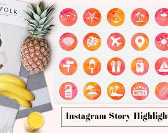 Summer Instagram Story Highlights, Watercolor Instagram Icons, Watercolour Highlight Covers, Traveling Instagram Icons, BUY3FOR6
