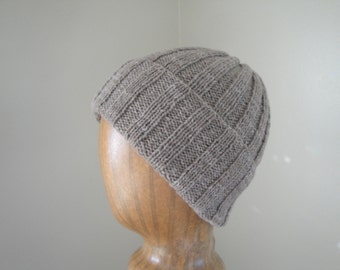 Ribbed Hat, Yak Wool, Warm Taupe Brown, Beanie Hat, Watch Cap, Luxury Knit, Natural Fiber, Mens Hat, Womens Hat