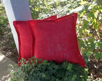 Pair Burlap Pillows RED Burlap Pillow Covers July 4 Decor Christmas Pillows Patriotic Nautical Decorative Pillows French Country Set of 2