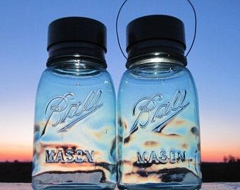 Wavy Blue Glass Lights 2 Hanging Mason Jar Solar Lights, Antique Blue Ball Mason Jar Lanterns, Outdoor Garden Art Decor