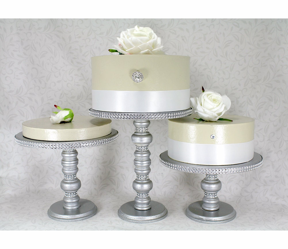 3 Silver Cake Stands Set Wedding Cake Stands Rhinestone