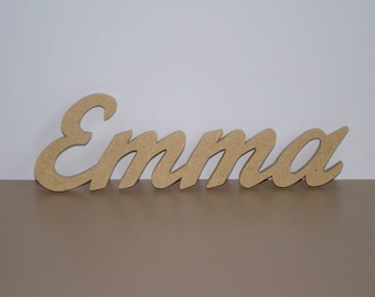 Names wooden 4 letters to be decorate H 5 cm approx