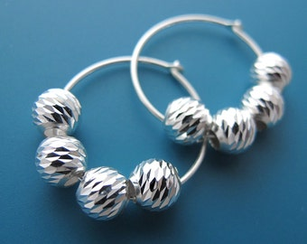 glamour - sterling silver facet beads hoop earrings