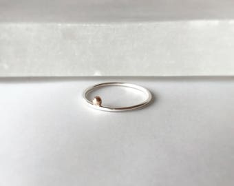 Tiny 14k gold dot ring - Sterling silver and 14k rose gold dot ring - tiny dot 14k - gold circle - simple ring - stacking ring - rose gold