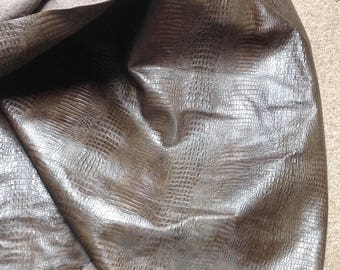 6-797.  Brown Embossed Baby Hornback Gator Leather Cowhide Partial