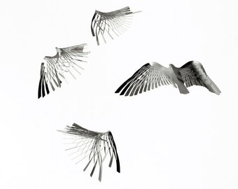 Bird Mobile, Kinetic Metal Art in bird shape,4 piece minimalist Mobile art, kirigami mobile art, Contemporary design- by Expand Life