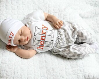 Baby Boy Clothes Chevron Gray Orange Bodysuit with Hat and Pants Options Personalized Baby Boy Newborn Boy Take Home Outfit Baby Gift