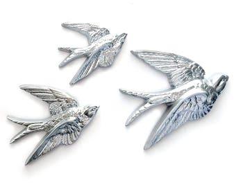 Silver Swallows, Bird Wall Art, Vintage Burwood Bird Hangings, 3 Silver Bird Wall Hangings, Flying Bird Art, Flying Swallow Wall Decor