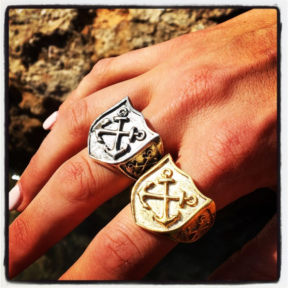 Etherial Jewelry -  Rock Chic Talisman Luxury Biker Custom Handmade Artisan Pure Sterling Silver .925 Double Anchors Nautical Shield Ring