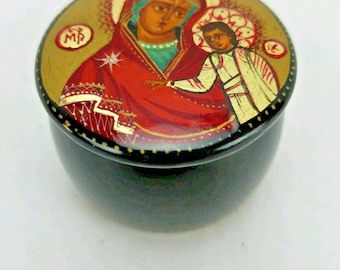 Russian Hand Painted Black Lacquer Religious Icons Design Trinket Box Mary Jesus