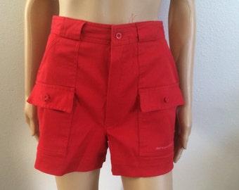 Red Shorts with Pockets / 80s 90s High Waist Shorts / Summer shorts / Pin up shorts / sailor shorts