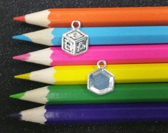 10 PCS - Baby Alphabet Blocks Silver Charm Pendant C1322
