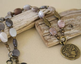 Antiqued Brass Coin Pendant Gemstone Necklace, Botswana Agate Necklace, Vintage Inspired, Autumn Necklace, Coin Pendant Necklace