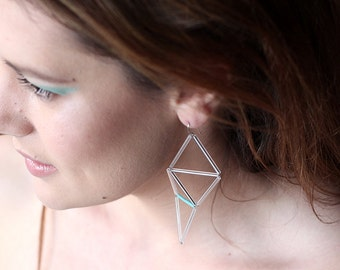Edgy Triangle Earrings- Transparent Turquoise Long Geometric Earrings