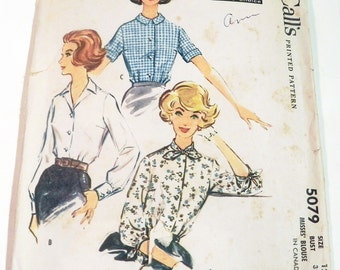 "1950s Front Button Short long sleeve blouse Convertible neckline Rockabilly Shirt sewing pattern McCalls 5079 Size 12 Bust 32"""