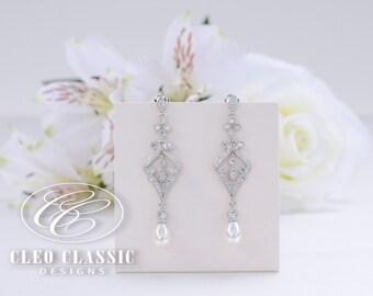 Bridal Earring Wedding Jewelry Zircon Dangle Earrings Bridesmaid Earrings White Rhodium Vintage Pearl Earrings Dangle Wedding Earrings Gift