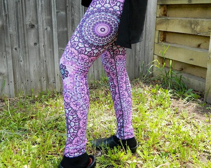 Featured listing image: Flower Pattern Yoga Tights, Purple and Gray Mandala Leggings, Art Leggings, Yoga Pants