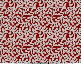 Red and white floral fabric by the yard - red fabric by the yard - red flower fabric by the yard - red and white fabric #17219