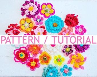 US/UK Crochet pattern tutorial 6 different flowers