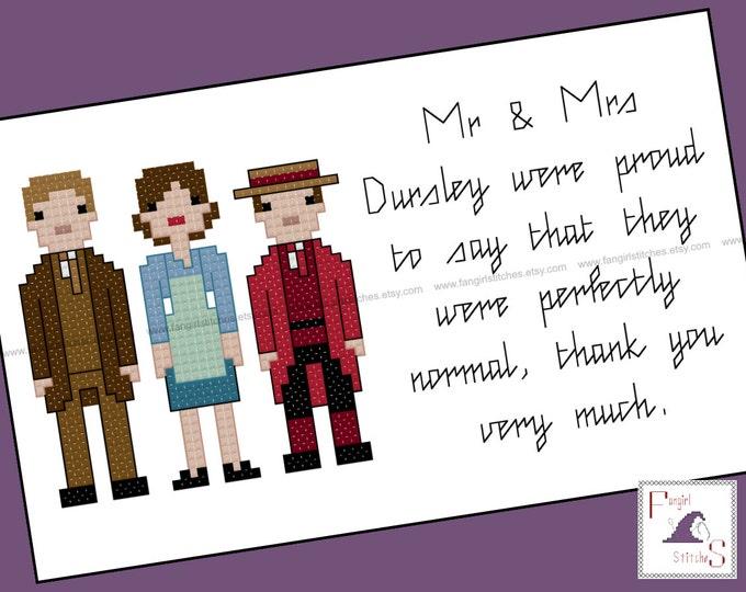 Harry Potter Parody - Dursley Family cross stitch - PDF Pattern - INSTANT DOWNLOAD