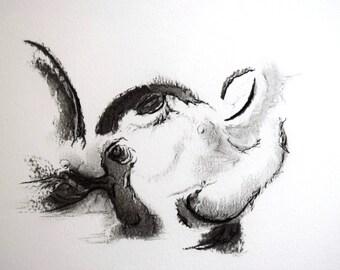 In Deep... original charcoal drawing