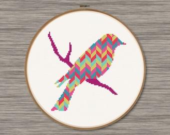 Bird on a Branch - PDF Cross Stitch Pattern