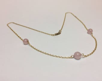 Gold and Rose Quartz Beaded Necklace