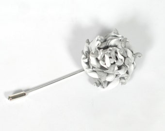 Leather flower lapel pin leather lapel flower wedding lapel pin white rose boutonniere mens boutonniere stick pin leather jewelry groomsmen