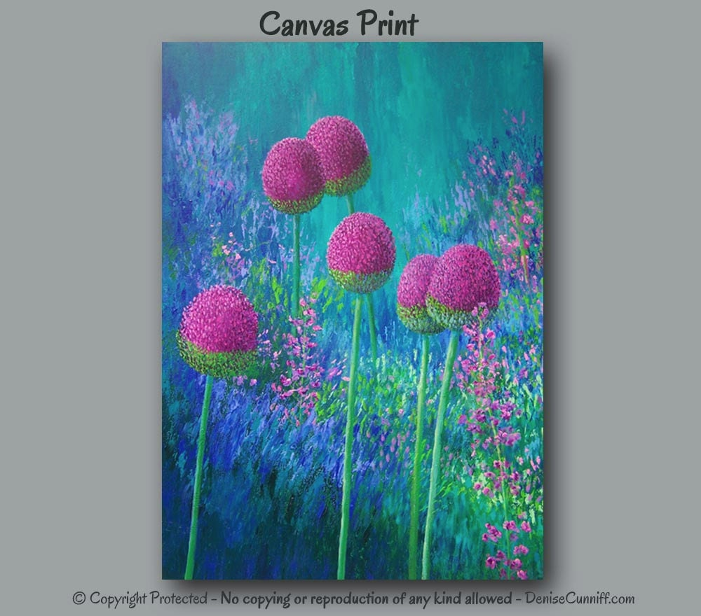 Items Similar To Teal Purple Abstract Flowers Wall Decor: Magenta Wall Art Abstract Floral Wall Art Canvas Print Large