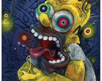 "Homer Art Print - The Simpsons Art - Homer Simpson - Wall Art - Cartoon Art - Funny Art - ""Homer"" by Black Ink Art"