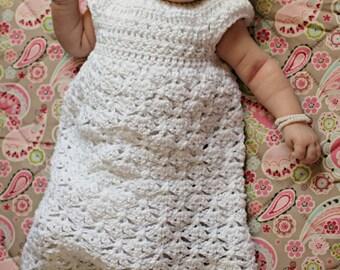 Elegant Felicity Dress Crochet Pattern Sizes Newborn, 0-3 Months and 3-6 Months
