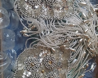 1920s flapper corsage, silver and gold wrist corsage, 1920s corsage, Gatsby corsage, 20s prom corsage, flapper accessories, flapper dress