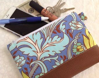 Amy Butler Blue Floral with Faux Leather
