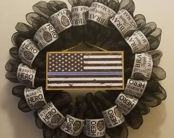 Law Enforcement / Police Officer Support Wreath - Thin Blue Line - Deco Mesh and Ribbon