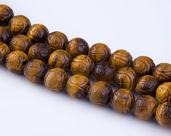 Natural Tiger Eye Chinese Carved Gemstone Beads, Long Life, Semi-Precious Gemstones, Center Drilled, Loose Beads, Priced per Strand, GS12TE