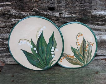 Ceramic plates set hand built, Lily of the valley, pottery plates, lily of the valley hand painted, dinner plates set, serving dishes