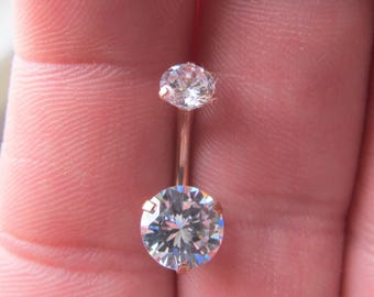 Rose Gold,Brilliant Cz's Surgical Steel Internally Threaded Navel Belly Ring..14g