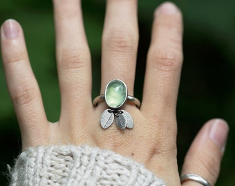Susurrus Ring. size 10.5 ( green prehnite gemstone ring. antique sterling silver. oxidized leaf print. green nature jewelry )